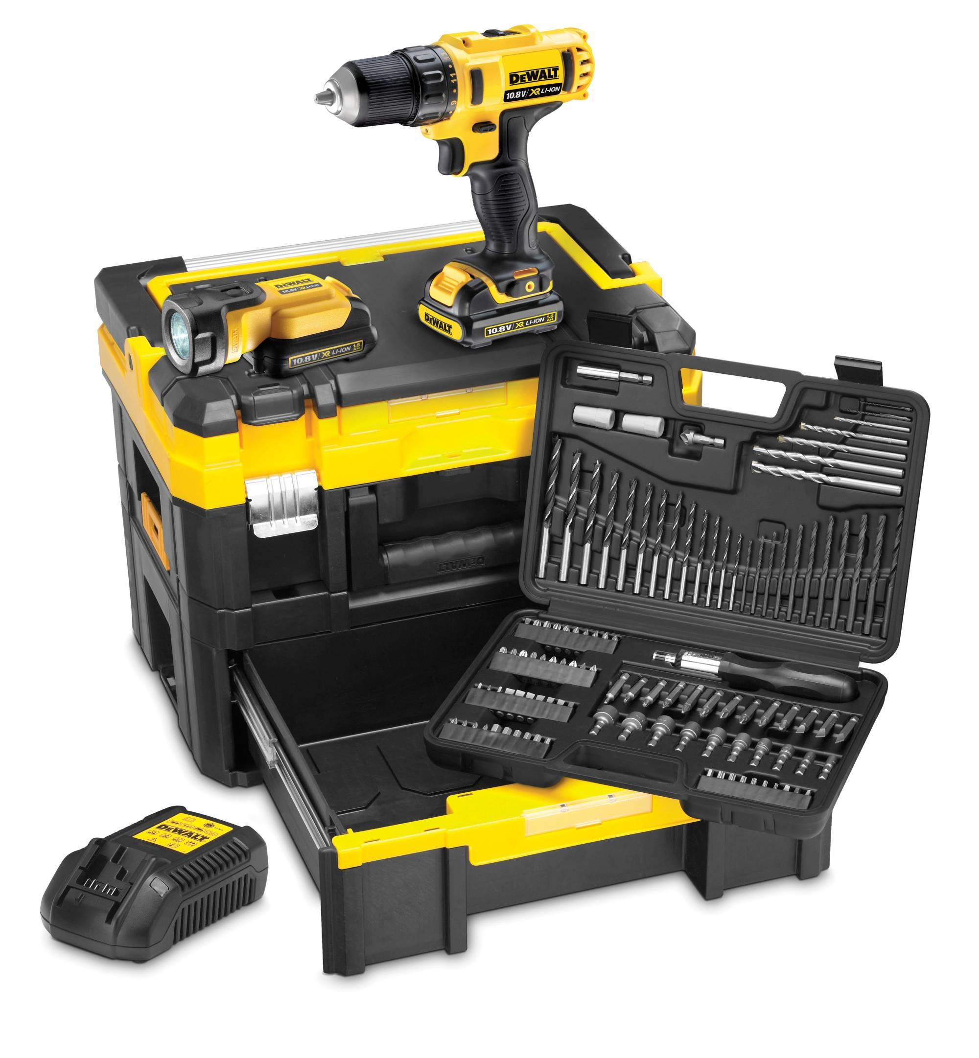 coffret dewalt tbox sans fil 109 accessoires perceuse. Black Bedroom Furniture Sets. Home Design Ideas