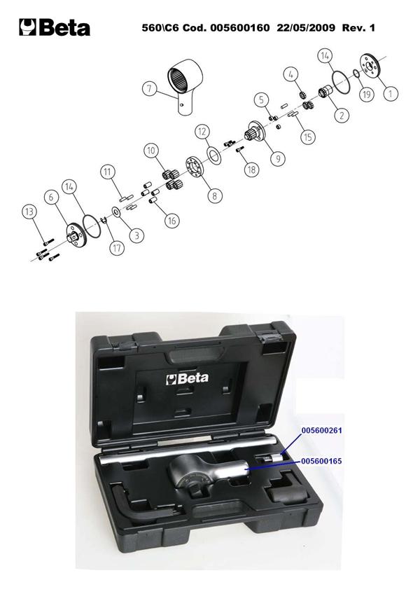 multiplicateur de couple beta pour serrage droite gauche en coffret plastique rapport 6 5 1. Black Bedroom Furniture Sets. Home Design Ideas