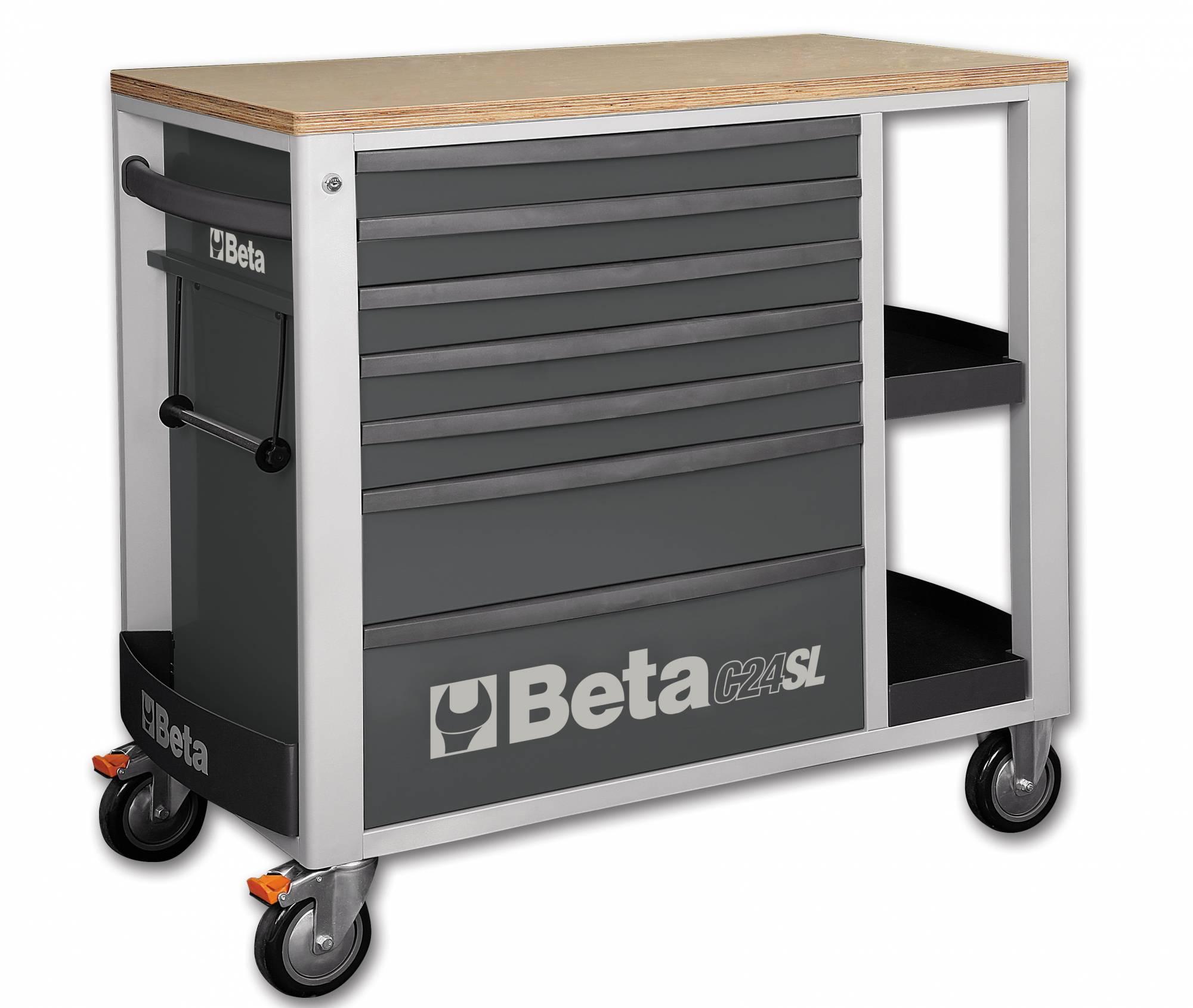 servante d 39 atelier beta grise mobile 7 tiroirs avec tablette lat rales c24sl achat mat riel et. Black Bedroom Furniture Sets. Home Design Ideas