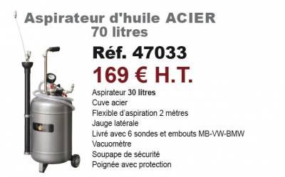 Aspirateur d'huile ACIER 70 litres